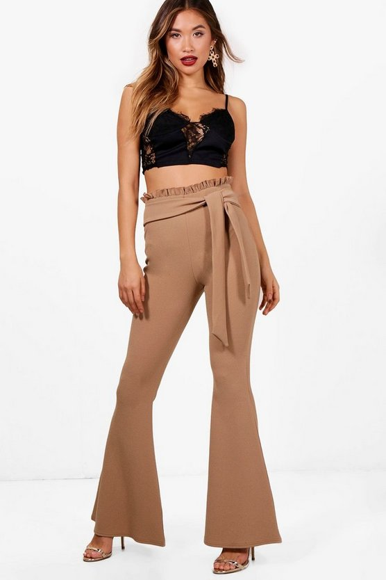 Lily Paperbag Tie Waist Skinny Flares
