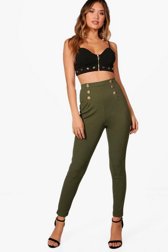 Bethany High Waist Button Front Slim Fit Trousers