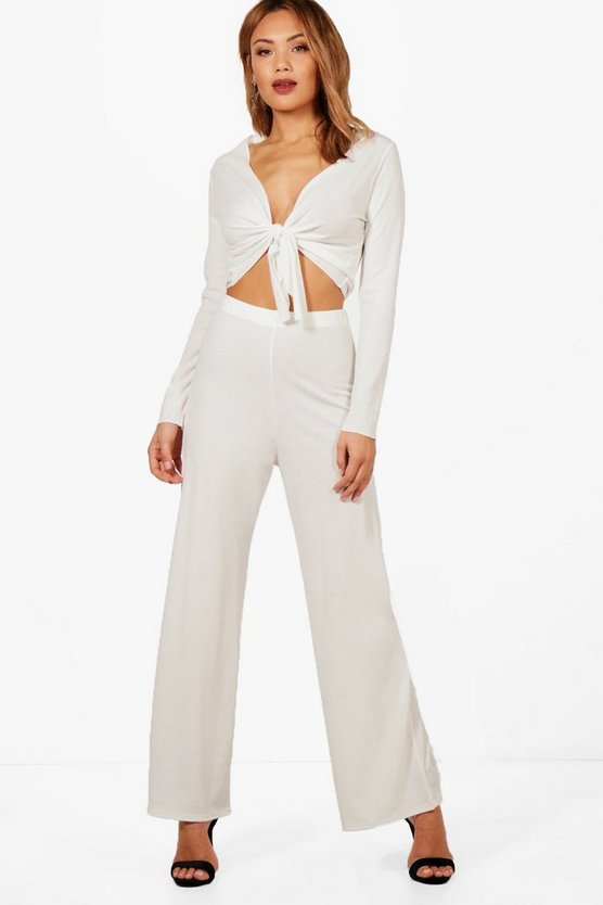 Laura Tie Front Top Wide Leg Knitted Set