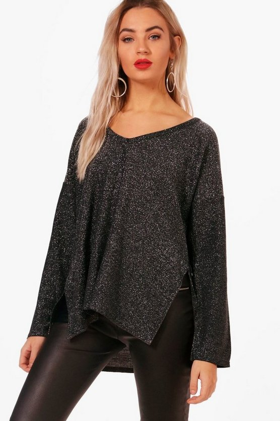 Metallic Oversized Jumper