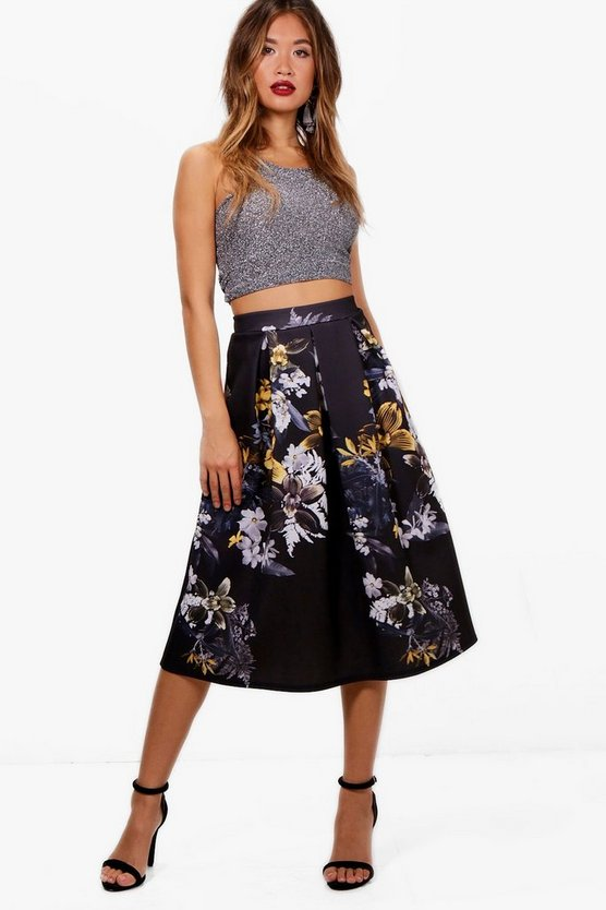 Digital Floral Box Pleat Midi Skirt