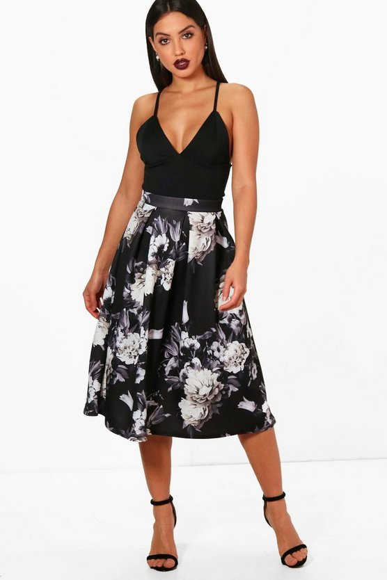 Hayley Dark Floral Box Pleat Midi Skirt