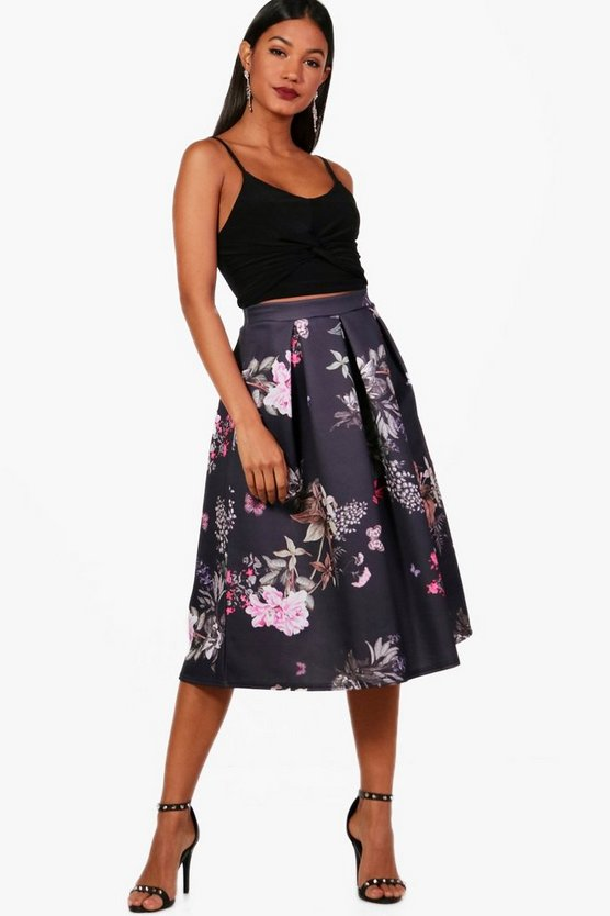 Nadia Large Floral Box Pleat Midi Skirt