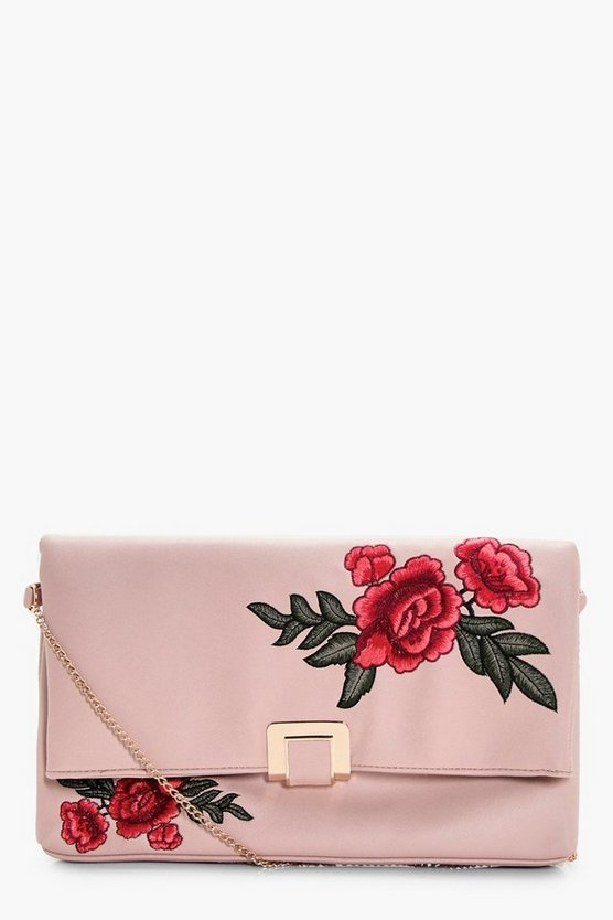 Mia Floral Embroidered Oversized Clutch Bag