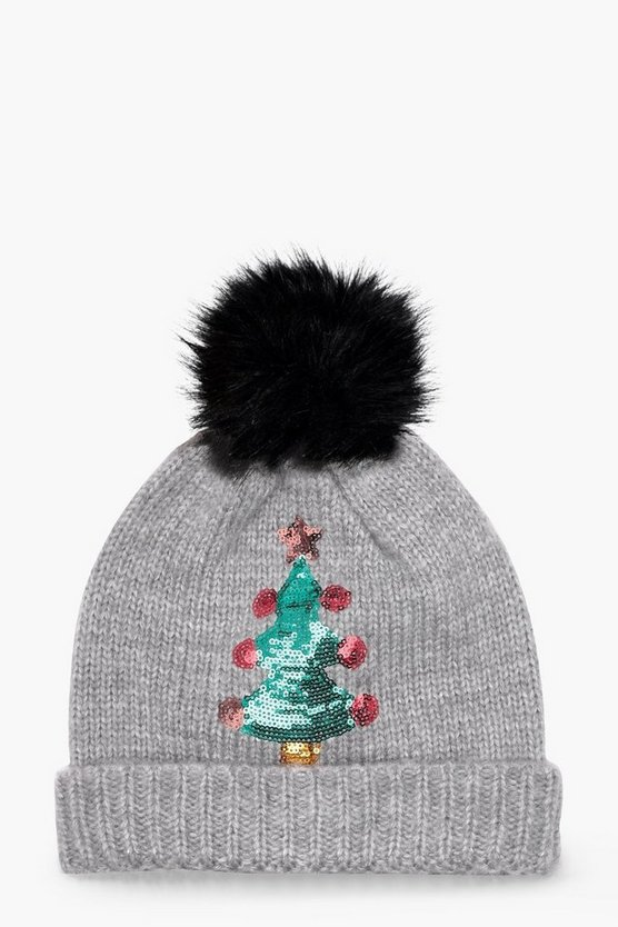 Christmas Sequin Xmas Tree Beanie