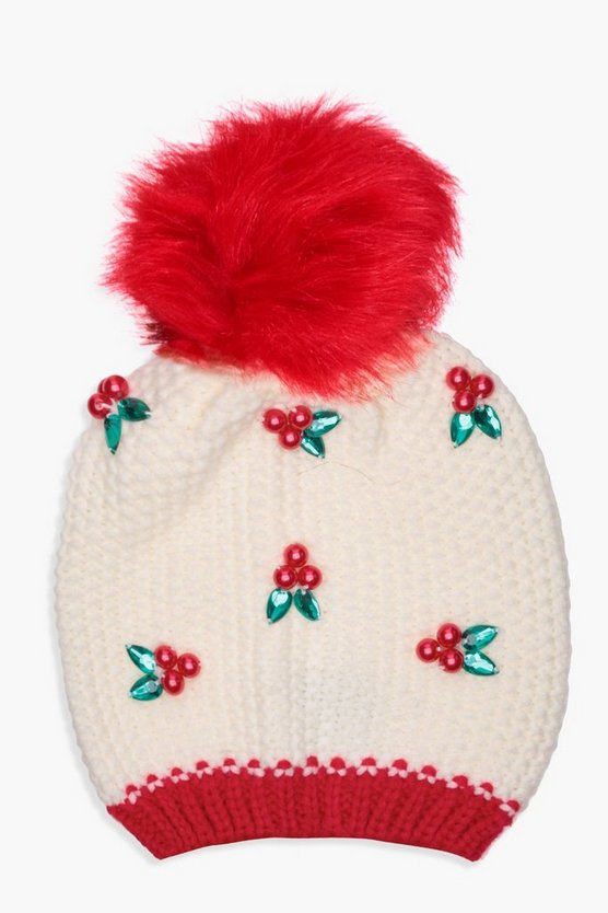 Christmas Ella Embellished Holly Knitted Beanie