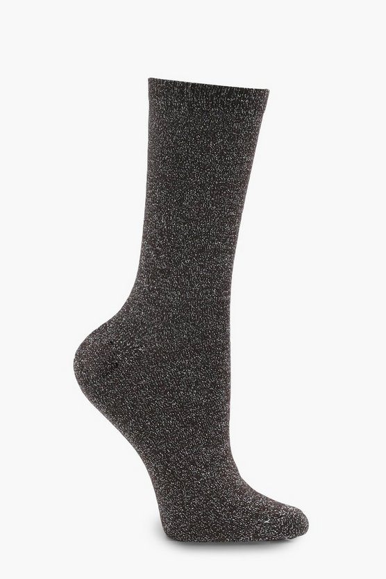 Katy Ribbed Top Glitter Ankle Socks