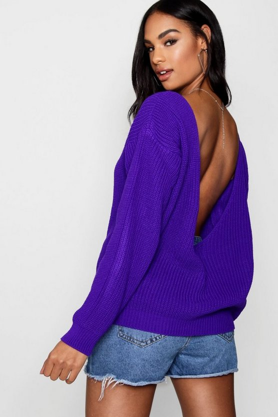Millie V Back Oversized Jumper by Boohoo