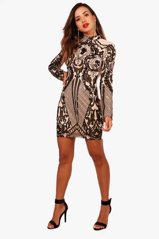 Boutique High Neck Printed Bodycon Dress