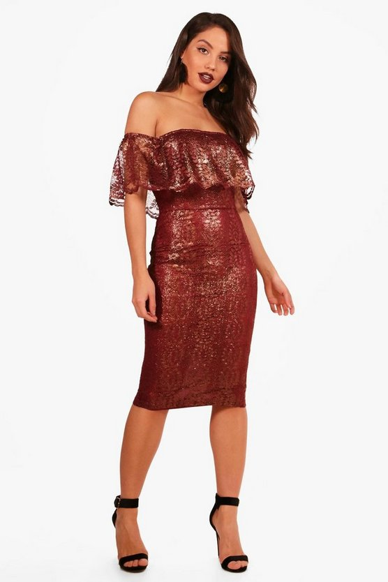 Boutique Off the Shoulder Frill Midi Dress