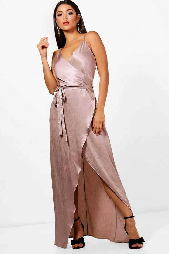 Boutique Drape Satin Maxi Dress
