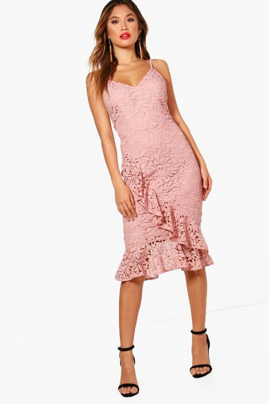 Boutique Jenna Frill Flute Hem Lace Midi Dress