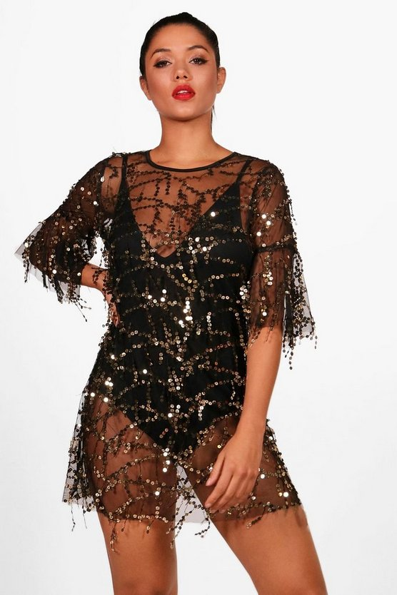 Boutique Beth Sequin Sheer Mesh Shift Dress