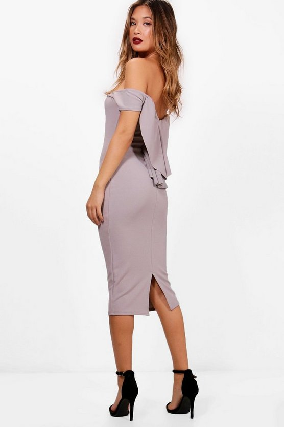 Vi Waterfall Detail Off the Shoulder Midi Dress