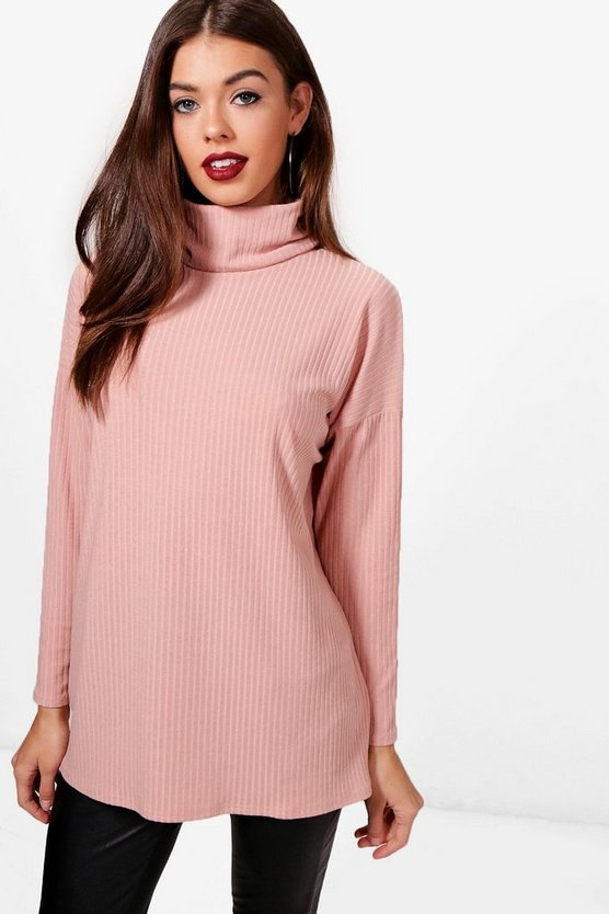 Maggie Oversized Roll Neck Knit Rib Jumper