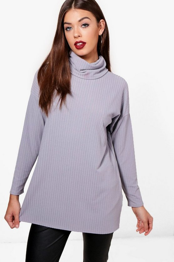 Oversized Roll Neck Knit Rib Jumper