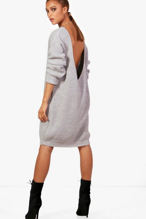 Amy V-Back Oversized Jumper Dress