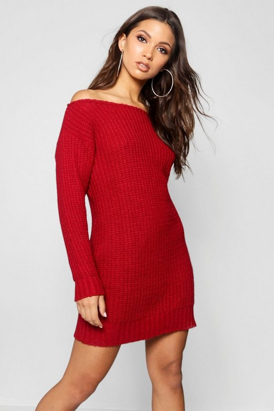 Alice Soft Knit Slash Neck Jumper Dress