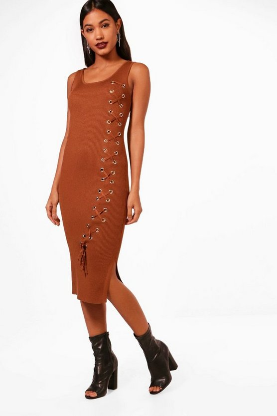 Layla Knitted Midi Lace Up Front Detail Dress