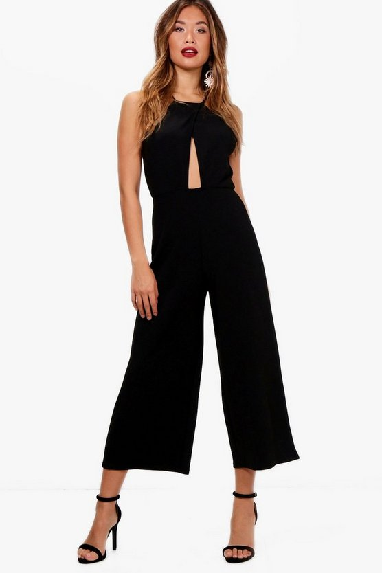 Valery Cross Over High Neck Culotte Jumpsuit