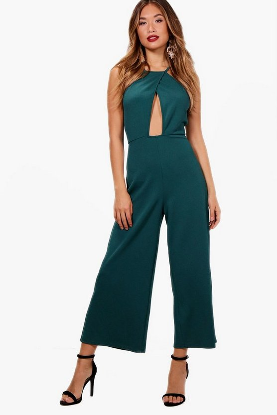 Cross Over High Neck Culotte Jumpsuit