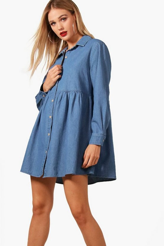 Olive Button Through Denim Shirt Dress