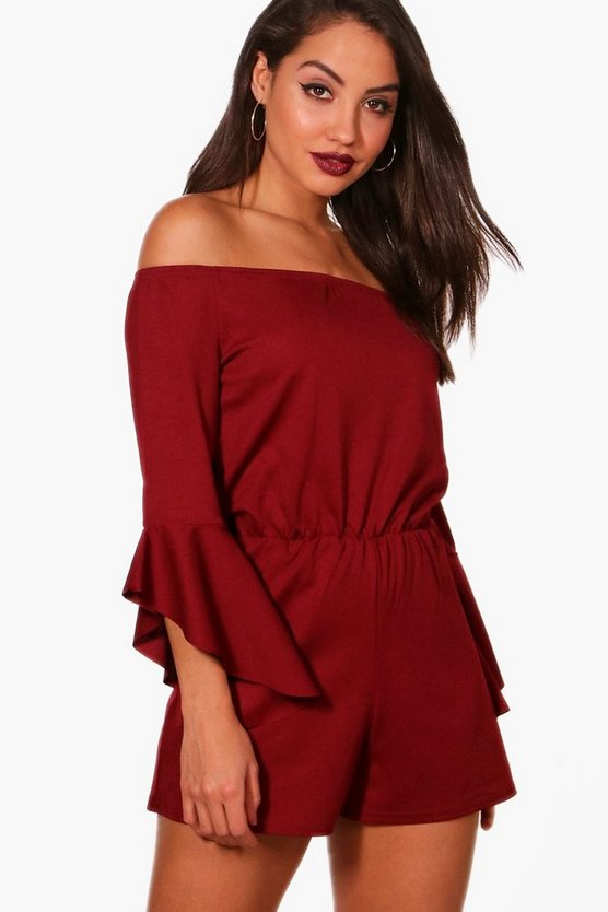 Quinn Flared Sleeve Bardot Playsuit