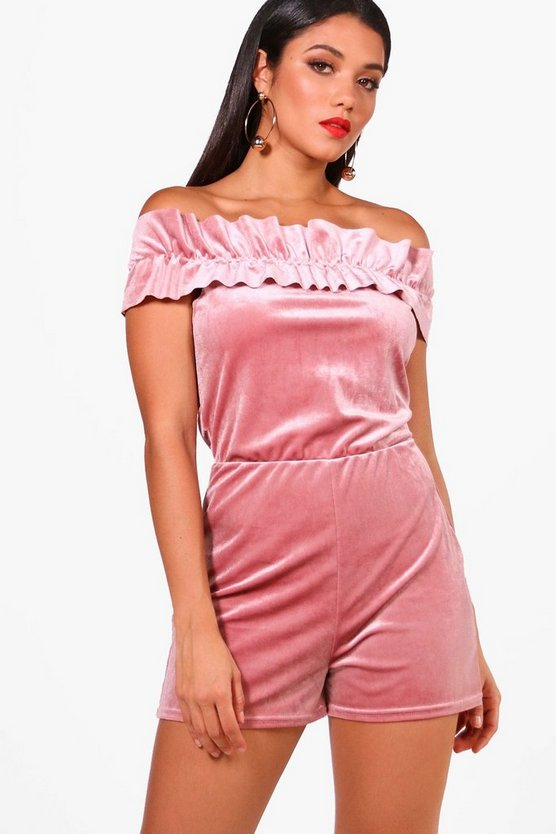 Riya Velvet Off The Shoulder Playsuit