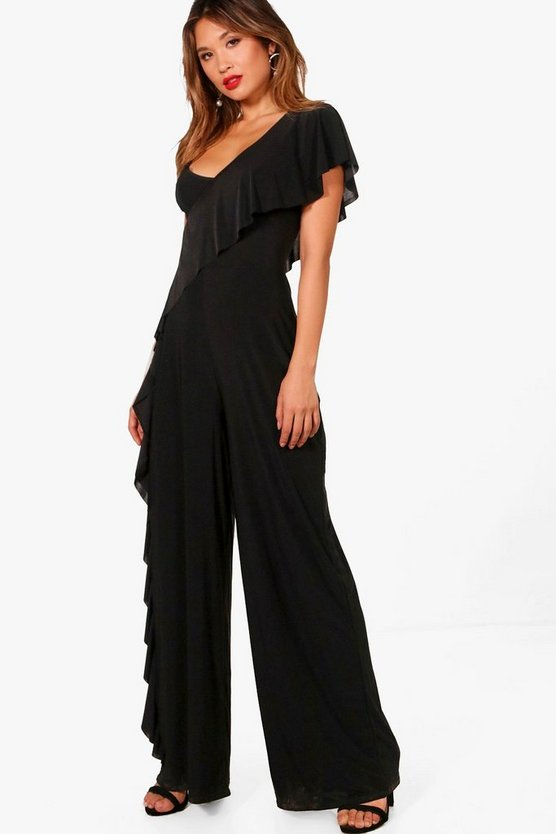 Frill Leg One Shoulder Jumpsuit
