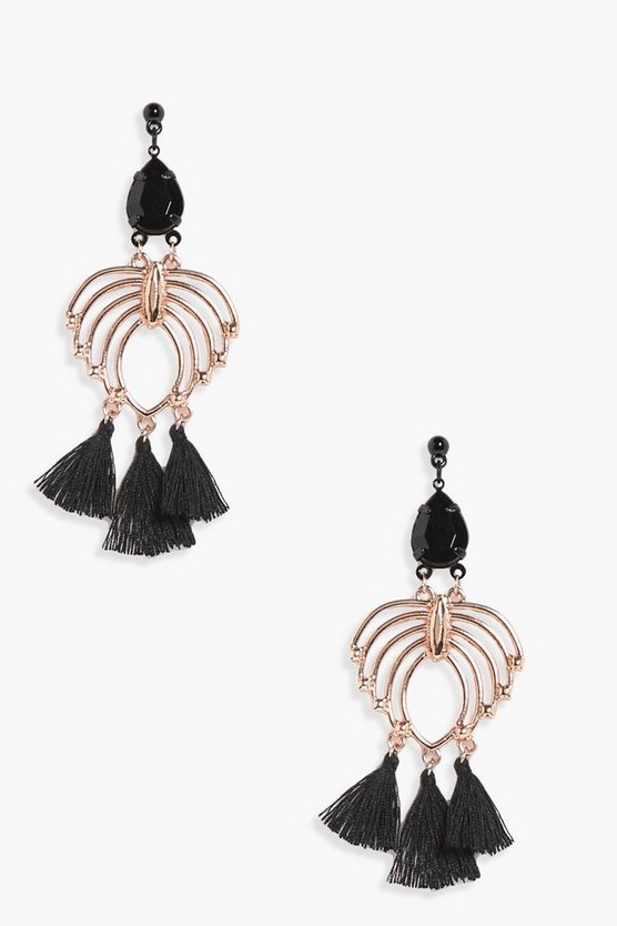 Ria Gem Stone Leaf Tassel Earrings