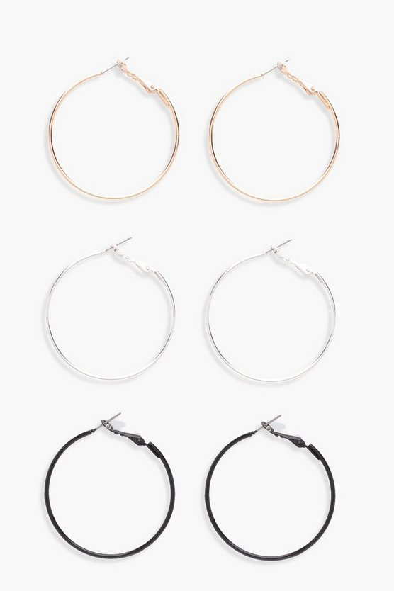 Mixed Colour Hoop Earring 3 Pack