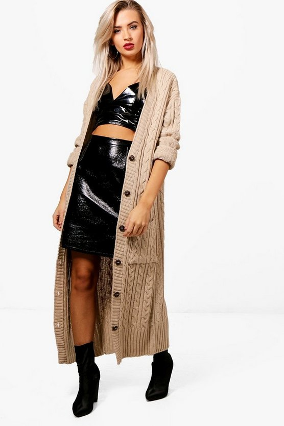Gracie Longline Cable Knit Boyfriend Cardigan