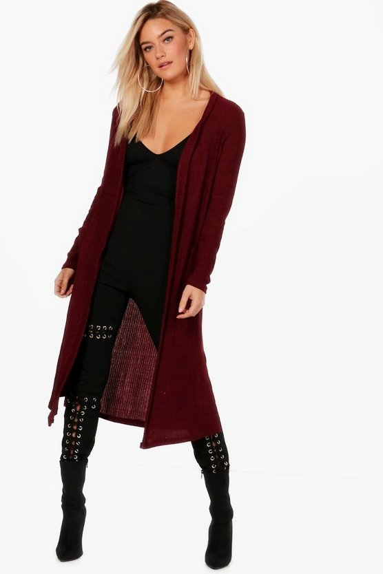 Rosie Longline Side Split Ribbed Cardigan
