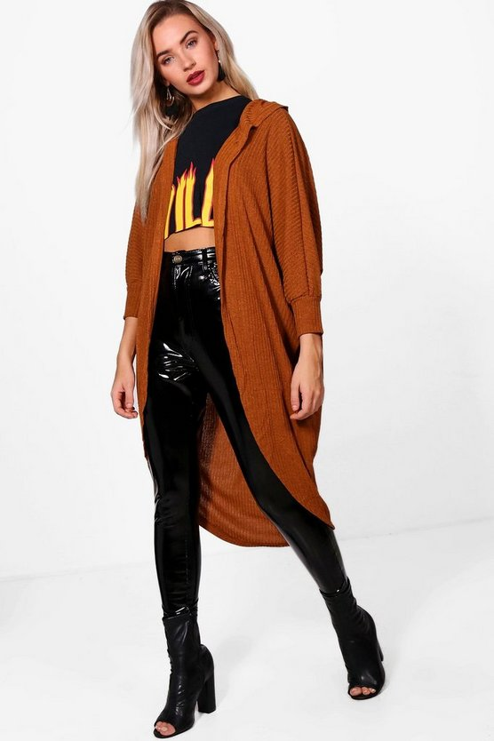Leah Hooded Cocoon Oversized Cardigan