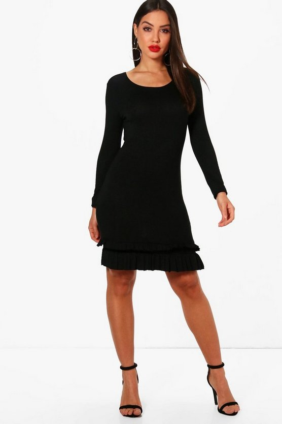Frill Hem Long Sleeve Bodycon Dress