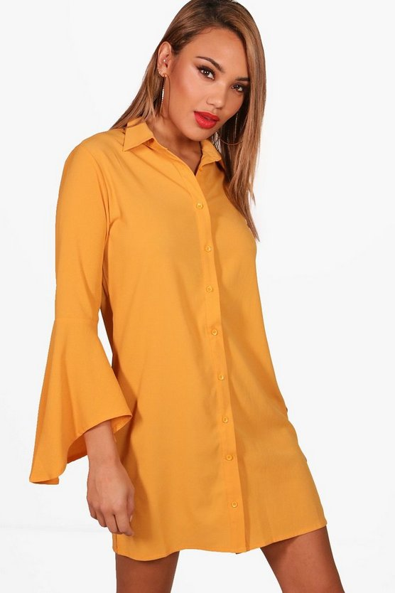 Suzannah Flare Sleeve Shirt Dress