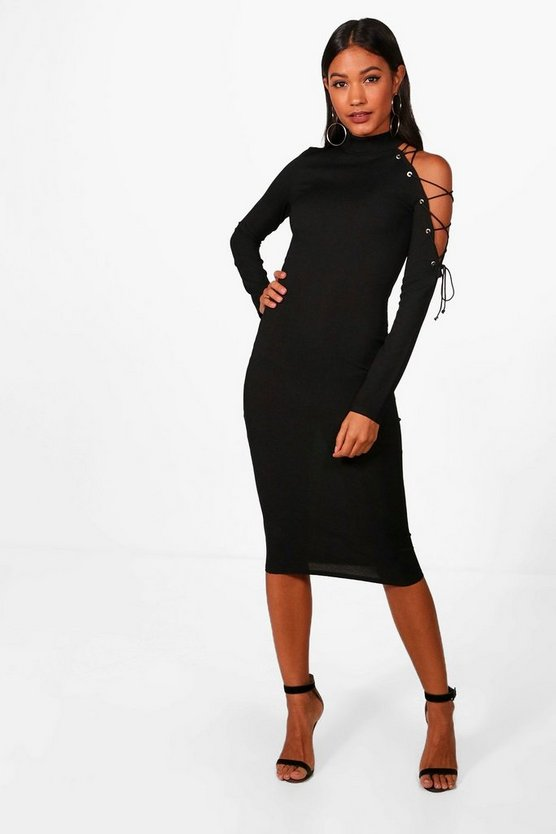 Sky One Shoulder Lace Up Eyelet Midi Dress