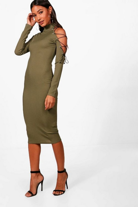 One Shoulder Lace Up Eyelet Midi Dress