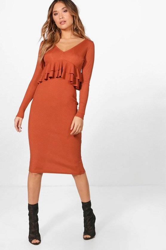 Victoria Ribbed Frill Detail Midi Dress