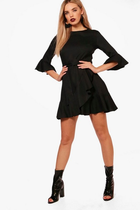 Ruffle Detail Belted Skater Dress