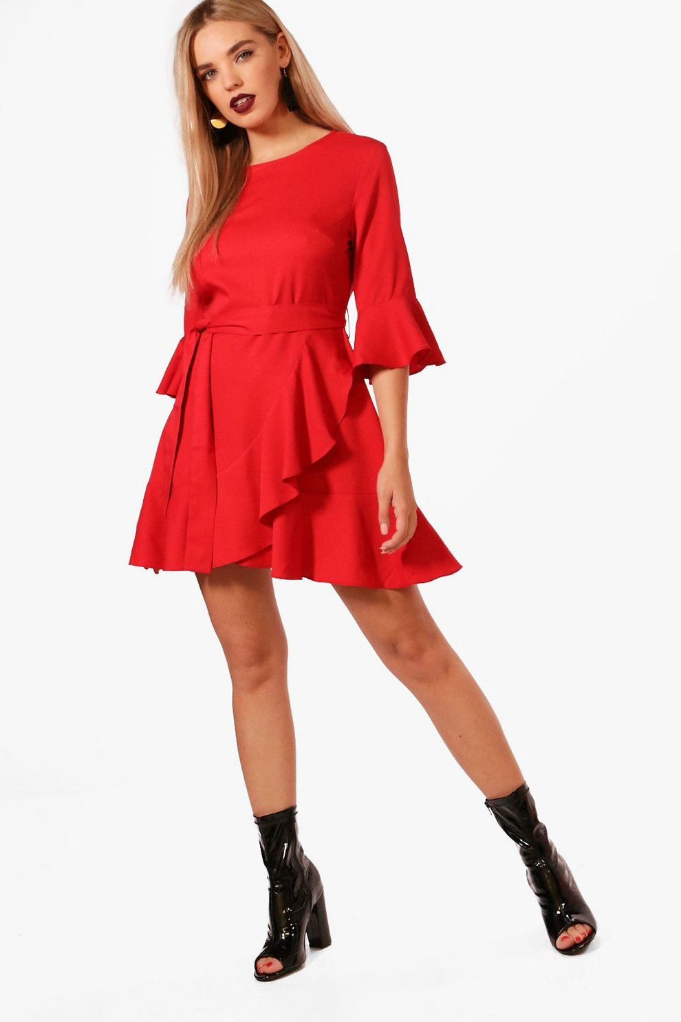 Clearance Visit New Boohoo Ruffle Detail Belted Skater Dress Find Great Sale Online Looking For Online Explore For Sale Inexpensive Cheap Price RsUhRw