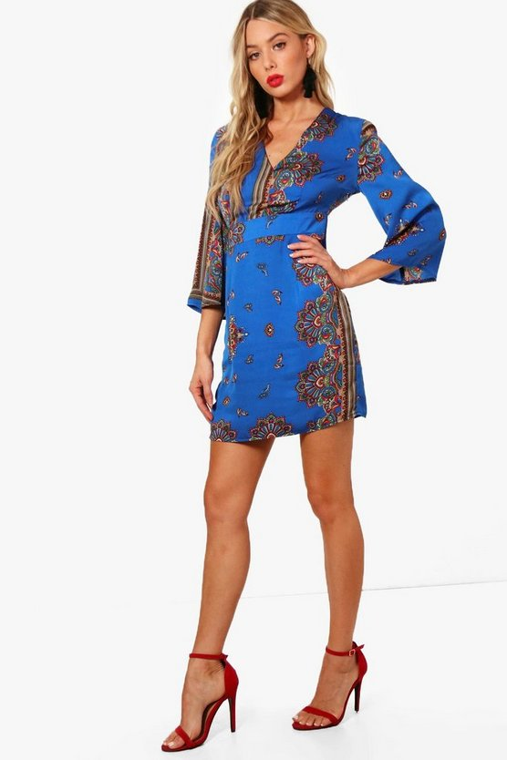 Jo Wide Sleeve Satin Scarf Print Shift Dress
