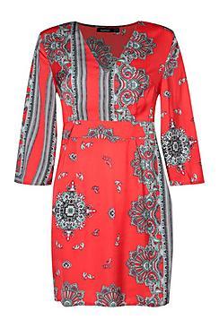Wide Sleeve Satin Scarf Print Shift Dress