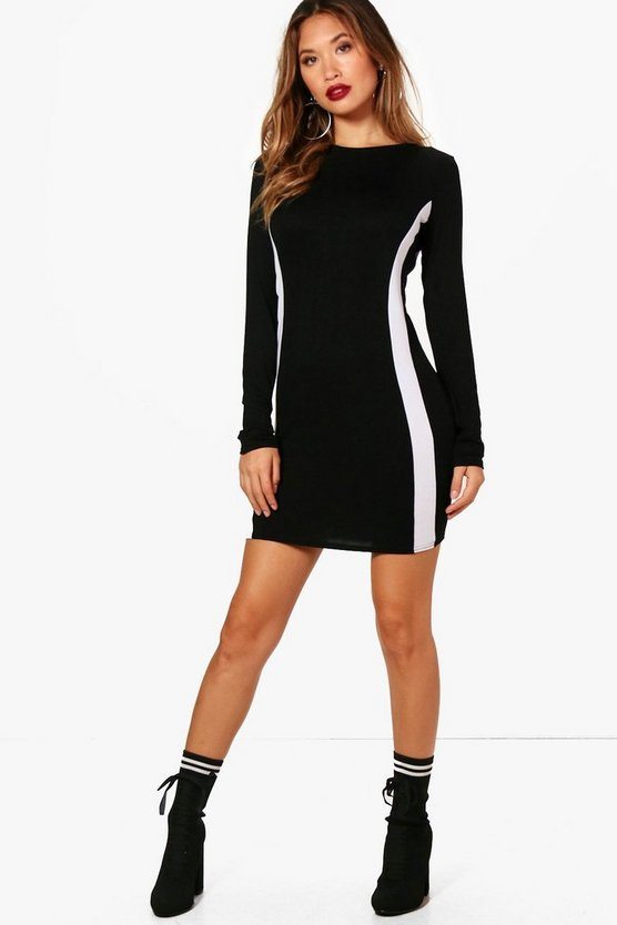 Stripe Long Sleeve Bodycon Dress