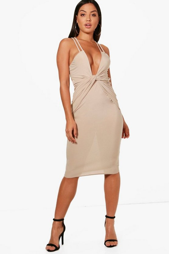 Kimberley Ruched and Knot Detail Midi Dress