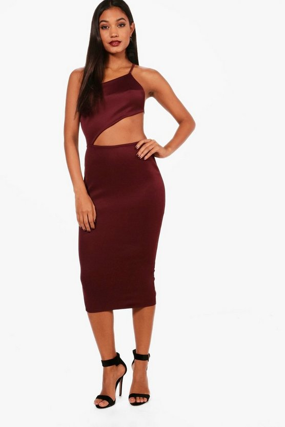 Ana Strappy One Shoulder Cut Out Midi Dress