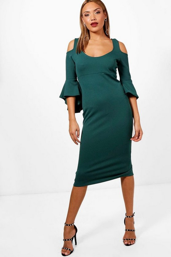 Open Shoulder Frill Midi Dress