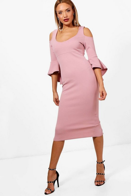 Kirsty Open Shoulder Frill Midi Dress