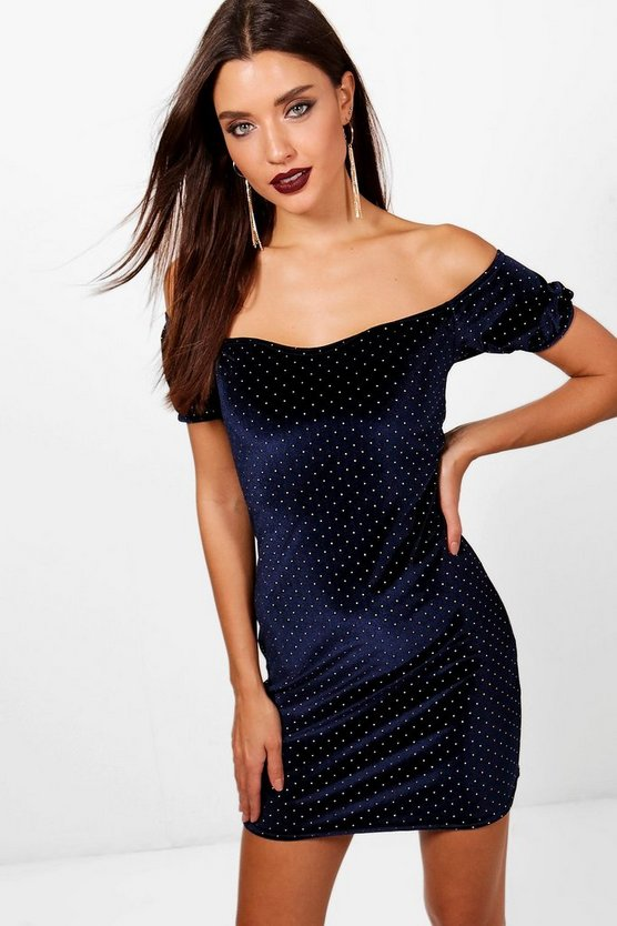 Suri Velvet Off the Shoulder Bodycon Dress