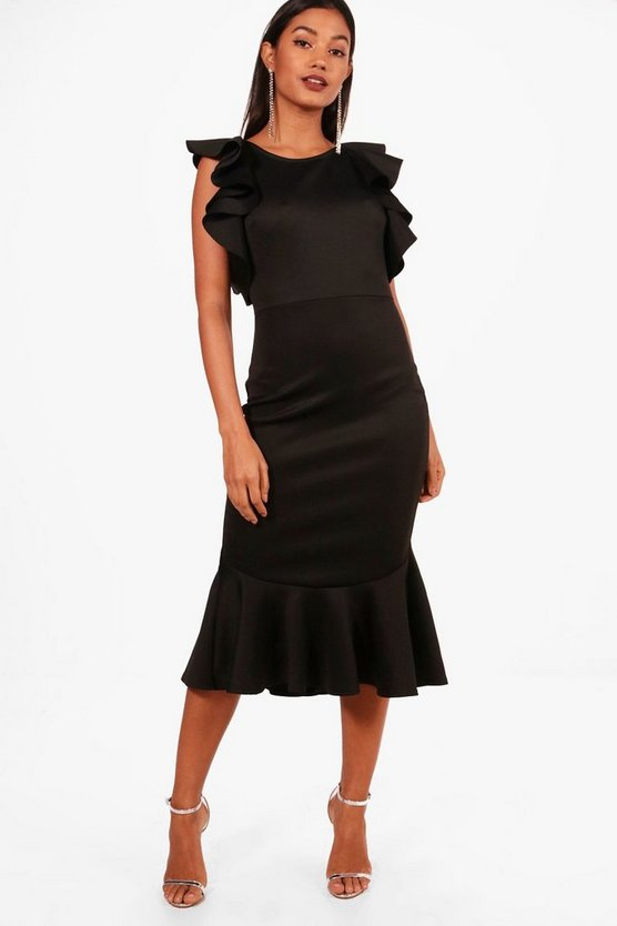 Open Shoulder Frill Detail Midi Dress